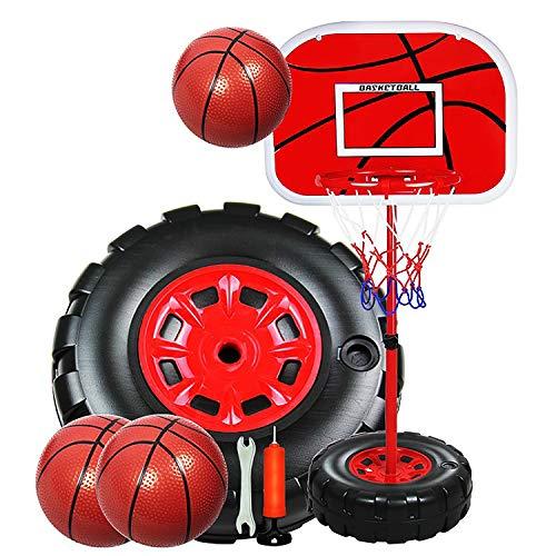 EODPOT Basketballkorb für Kinder, Mini-Basketballkorb für Schlafzimmer, freistehender tragbarer Basketballständer mit höhenverstellbarer Größe von 63 bis 200 cm, mit 2 Bällen-1.3M