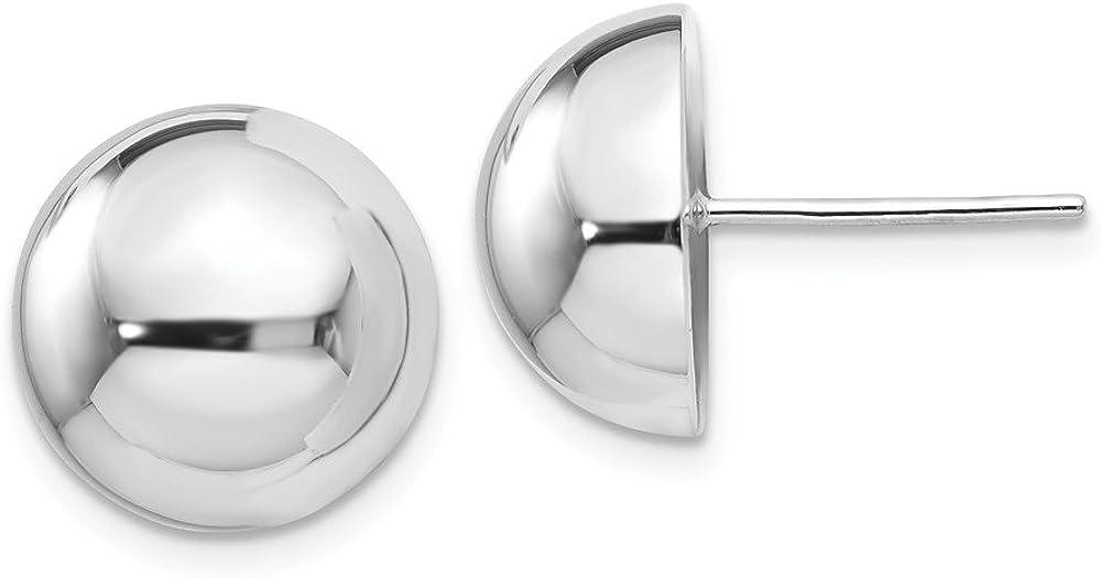 14K White Gold Polished Half-Ball Post Earrings
