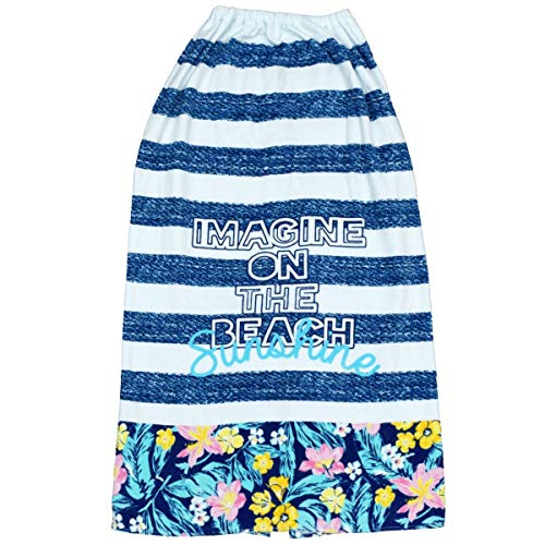 アスナロ(巻きタオル・タオル) 巻きタオル 女の子 キッズ ボーダー柄 ラップタオル100 ホワイト-紺