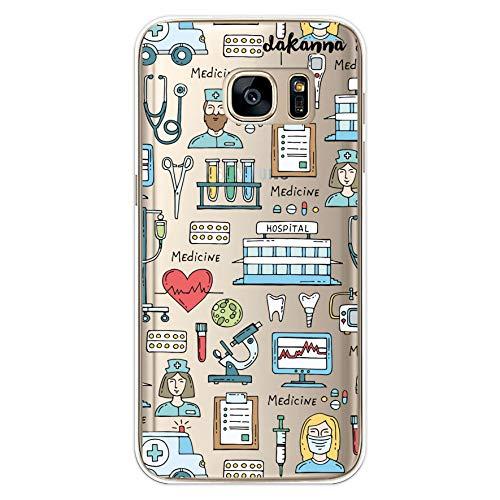 dakanna Custodia per [Samsung S7 ] Ospedale Cuore Ambulanza Medici Simboli, Cover in Gel di Silicone TPU Morbido di Alta qualità con [Sfondo Trasparente]