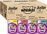 Whiskas Katzenfutter Nassfutter Junior für Kätzchen/ Kitten <1 Jahre Klassische Auswahl in Sauce, 84 Portionsbeutel (84 x 100g)