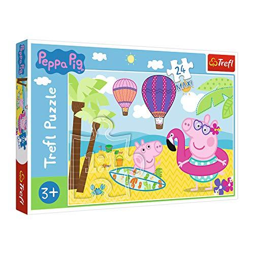 Trefl, Puzzle, Peppa Wutz macht Ferien, 24 Maxiteile, Peppa Pig, für Kinder ab 3 Jahren
