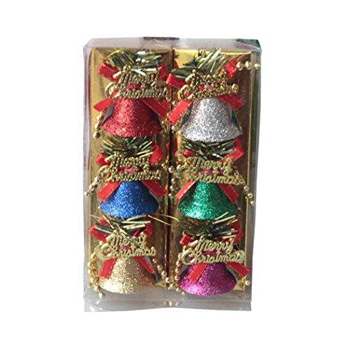 Décoration d'arbre de Noël, Outgeek 6pcs Paillettes Décorations Noël Noël Tient pour Partie les Cloches de Décor
