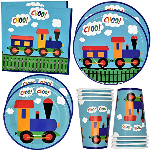 Train Party Supplies Tableware Set 24 9' Paper Plates 24 7' Plate 24 9 Oz. Cups 50 Lunch Napkins for All Aboard Railroad Cars First Two or Any Birthday Dinnerware Trains Tracks Disposable Decorations