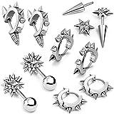 Aroncent 10 PCS Stainless Steel Men Women Ear Stud Earring Huggies Piercing Spike Rivet Cone Taper Silver