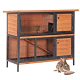 VINGLI 48' Rabbit Hutch Bunny Cage w/Sturdy Metal Frame Feeding Trough, Rabbit Pet House Small Animal Cage for Indoor & Outdoor ( Include Chewing Toy)