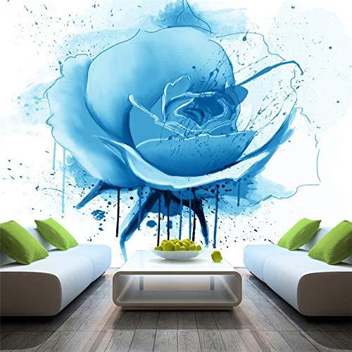 DZBHSCL 4D Behang muurschilderingen, een moderne, minimalistische elegante blauwe bloem plant Hd kunstdruk grootte fotobehang poster voor huis woonkamer slaapkamer muur decor 116in×192in 290cm(H)×480cm(W)