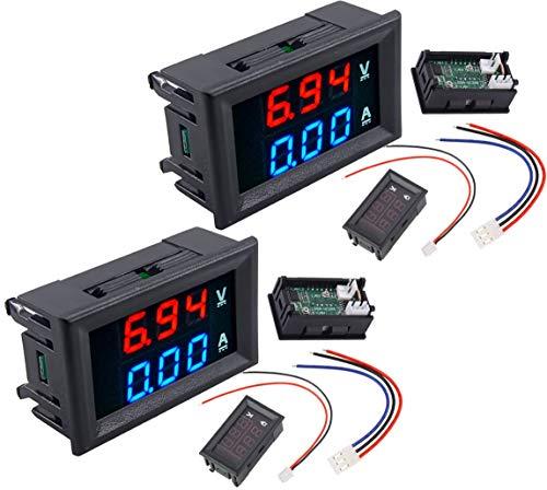 2pcs DC voltmeter ammeter Blue 100V 10A + LED red digital voltmeter double amplifier caliber | 2 unids DC voltímetro amperímetro Azul 100 V 10A + LED rojo voltímetro digital doble amplificador calibre