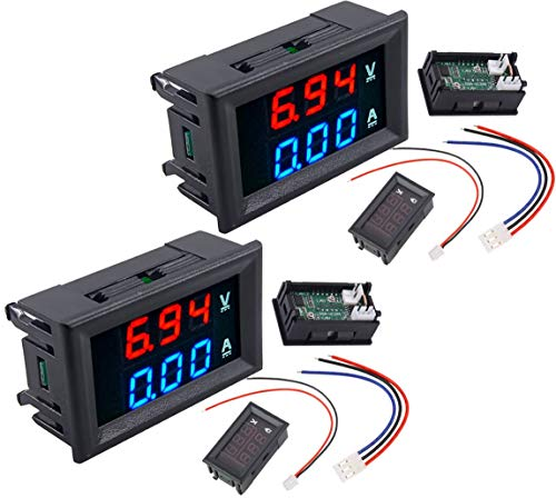 2pcs DC voltmeter ammeter Blue 100V 10A + LED red digital voltmeter double amplifier caliber | 2 unids DC voltímetro amperímetro Azul 100 V 10A + LED rojo voltímetro digital doble amplificador calibre