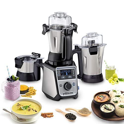 Hamilton Beach Professional Juicer Mixer Grinder 58770-IN, 1400 Watt Rated Motor, Triple Overload Protection, 3 Stainless Steel Leakproof Jars, Triple Safety Protection, Intelligent Controls, Black