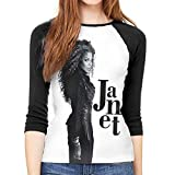 Henrnt Janet Jackson Janet Shirt Teen Girl Damen Raglan Bluse 3/4 Arm T-Shirt Bluse Top Round Neck...