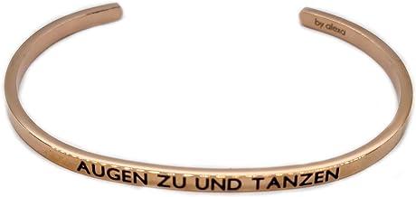Elegante armband zilver of roségoud met mantra en spreuk - gravure in 2 maten. Ogen om te dansen