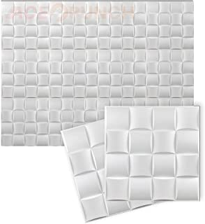 Acepunch New 24 Pieces of White 30CM X 30CM 16 Cube Design Textured PVC Waterproof Scratch-resistant 3D Wall Panels for Ho...