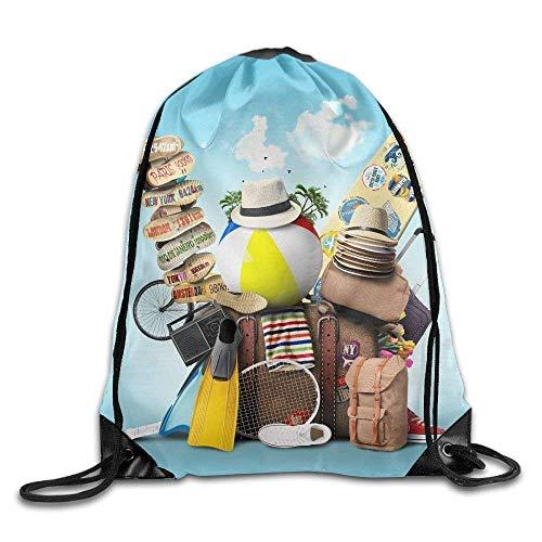 Corner Time Small Artificial Flowers Suitcase Ball Hat Plimsoll Shoe Print Drawstring Backpack Rucksack Shoulder Bags Gym Bag Sport Bag