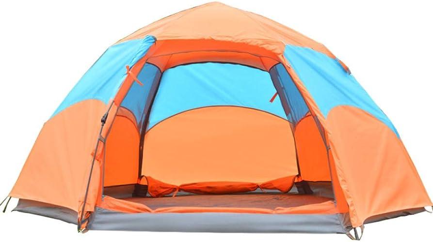 QXTT Tente De Camping Tente Anti-UV Extérieure Imperméable De Double Couche De Tente De Plage De 3-5 Personnes