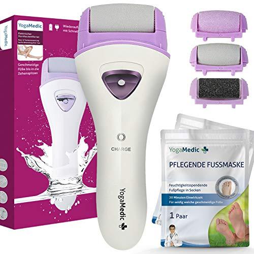 Hornhautentferner Elektrisch YogaMedic, 1 Std. Laufzeit, 2 Ersatzrollen + 2 Fußpflegemasken und Netzteil, einstellbare Geschwindigkeit, LED Lampe, 600mAh