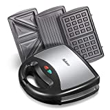 Yabano Sandwich Toaster, 800-Watts 3-in-1 Detachable Non-Stick Coating, Stainless Steel