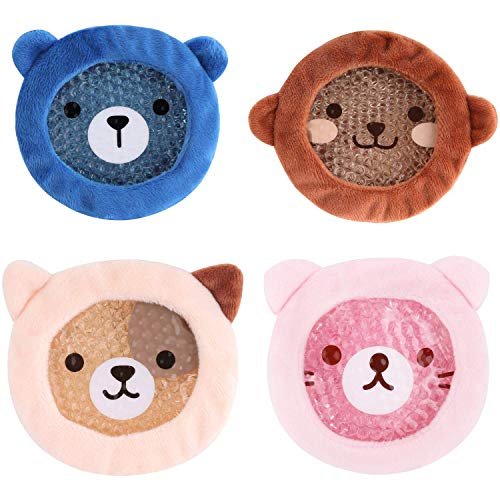 FOMI Premium Kids Hot Cold Ice Packs | 4 Pack | Soft Colorful Sleeves | Fun Animal Designed Children Gel Bead Wrap | Pain Relief for Kids Boo Boos, Fever, Wisdom Teeth, Tired Eyes, Headaches