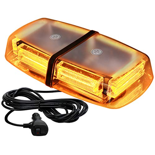 VKGAT 48 LED Roof Top Strobe Lights, Emergency Hazard Warning Safety Flashing LED Mini Bar Strobe Light for Truck Car Snow Plow Vehicles, Waterproof and Magnetic Mount (Amber)