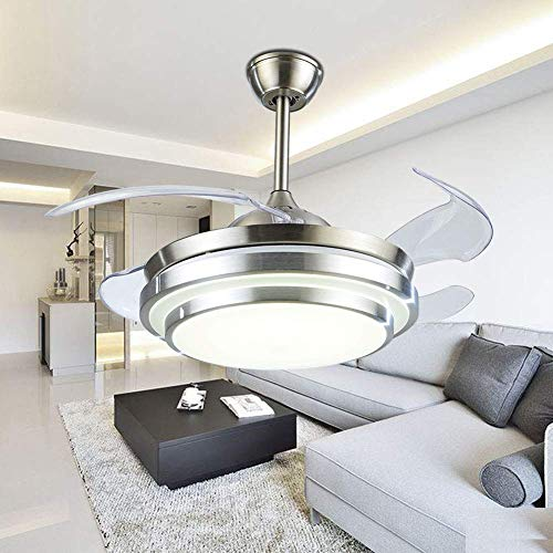 """YEELED Light 42"""" Invisible Reversible Ceiling Fans with LED Light Remote Control 4 Retractable Clear ABS Blades Bedroom Fan Chandelier Indoor Ceiling Light Kits with Fans (42 Inch, Silver-05)"""