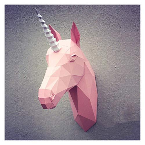 Bfrdollf Modelo de Papel de DIY 3D del Unicornio del Arte de Origami Papercraft Pared Animal Juguetes Partydecor Inicio la decoración del Partido Rompecabezas Eductional Juguetes (Color : 8)