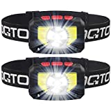 OQTO LED Headlamp Flashlight, 1000 Lumens USB Rechargeable Headlight, 8 Modes with Motion Sensor Head Lamp, Waterproof LED Head Lights for Camping, Hiking, Running, Working and More, Pack of 2