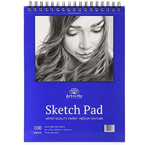 Sketchbook de 100 Hojas Cuaderno Dibujo de Hojas de Textura Media de 100 gr y 22.9 x 30.5 cm (9 x 12 pulgadas) Bloc para Bocetos y Otros Dibujos con Lápices de Lápiz Grafito Pasteles