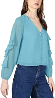 Bar III Ruffle-Sleeve Button-Up Top Blue Size Small