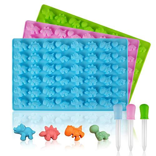 HANGNUO 3 Packen Dinosaurier Gummibärchen Formen Silikon Schokoladenform Formen und Eiswürfelbereiter Pralinenformen Süßigkeitmit 3 Dropper