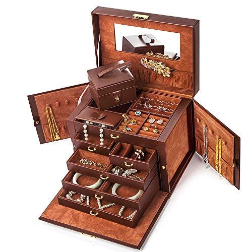 LANLANLife Cierre la Caja de joyería Princesa Caja de joyería Europea Caja de joyería Grande Caja de Almacenamiento de joyería Caja de Regalo de Gama Alta (Color : Brown)