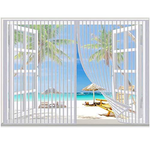 CHENG Moustiquaire Porte Magnétique, Fenêtre Moustiquaire Magnétique, aimants Ultra Seal Facile pour Enfants et Animaux, for Couloirs/Portes/Patio - Blanc, 75x225cm