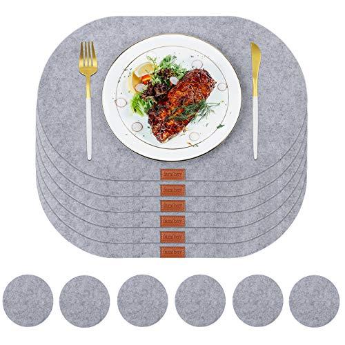 Famibay Platzset aus Filz mit Untersetzer 6er Set Tischsets Oval Abwaschbar Filztischsets Grau und Filzuntersetzer Abwischbar Platzdeckchen Hitzebeständig für Küche Esstisch Holztisch Restaurants