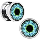 DaDong Ohrkanalstopper Bahre-Boom Fleisch Kanal Edelstahl grün blau Augentropfen für Körper Einstich 2Pcs 3mm-20mm,5mm