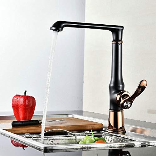 (agua) grifo, grifo de latón giratorio de Bibcock grifo negro elevado y más largo caliente y frío solo mango de un solo agujero grifo de cocina de fontanería a prueba de salpicaduras (color A: A)
