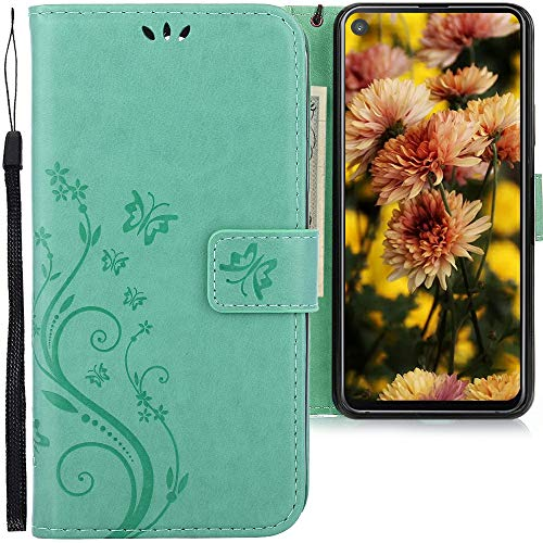 CLM-Tech Hülle kompatibel mit Samsung Galaxy A8s - Tasche aus Kunstleder - Klapphülle mit Ständer & Kartenfächern, Schmetterlinge grün