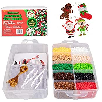 Christmas 10,000 pcs Special Holiday Fuse Bead Kit - Create Your Own DIY Ornaments  Xmas Tree Stocking Gingerbread Man Cookie Ornament Reindeer Santa Claus Snowman Elf  - Great Craft Toy Gift