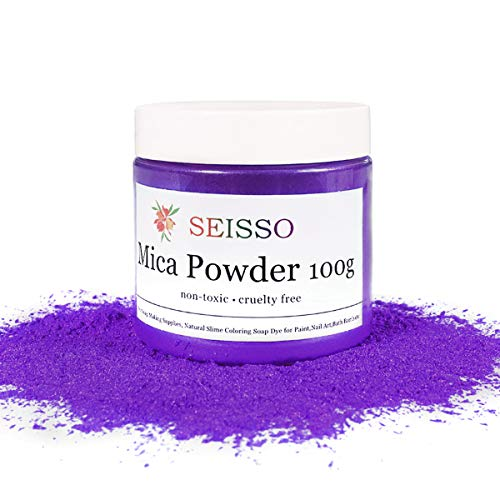 SEISSO Mica Powder Solid Purple - 100 Gram/ 3.5 Ounce Fine Shimmer Pigment, Natural Non- Toxic Colorant Dye for Craft Soap Making Bath Bomb Epoxy Resin Paint Acrylics Rubber Clay Kid Slime Nail Polish
