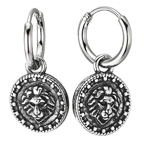 Paar Herren Damen Creolen mit Vintage Stern Kompass Kreuz Löwe Kopf, Edelstahl Huggie Ohr Manschette Ohrringe Zweiseitig