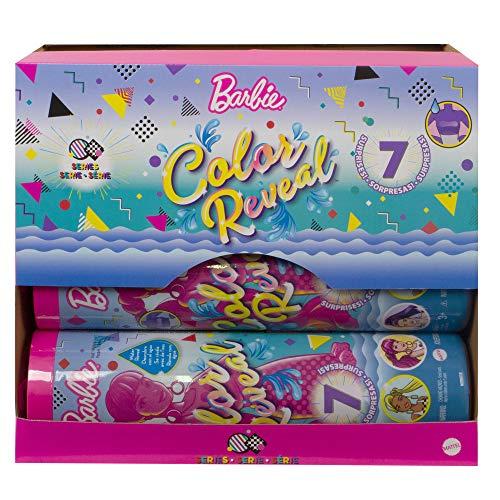 Barbie Fashionista Color Reveal Colores Muñeca para niñas de 3 años en adelante con 4 Accesorios Sorpresa (Mattel GWC56)