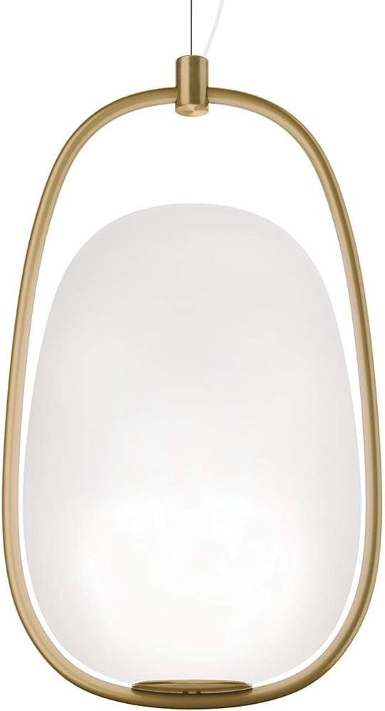 Kundalini lannà ,lampada a sospensione, a doppio strato,in vetro soffiato, struttura in metallo ottone laccato K386320