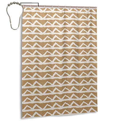 Sula-Lit Duschvorhänge, Dreiecke auf Jute, für Badezimmer, Duschen & Badewanne, Metallösen, 140 x 183 cm, Weiß
