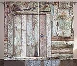 Cortinas rústicas, Antigua Puerta de Granero rústica Casa de Campo Tema de la cabaña Rural Entrada mística de la casa, Cortina para el Dormitorio Comedor Sala de Estar Juego de 2 Paneles Cacao marrón