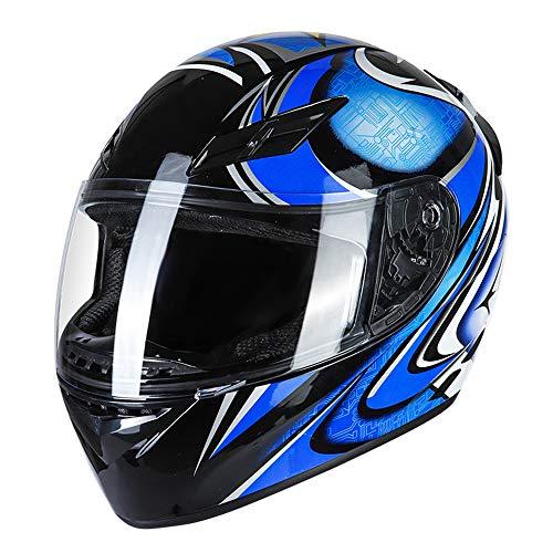 KKmoon Integralhelm Helm Motorradhelm Unisex Adult Cool Rider Ausrüstung Vier Jahreszeiten E-Bike Helm New Street Touring Motorradhelm Style E Size L Blau