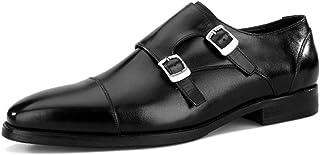 Rui Landed Premium Leather Oxfords for Men Monk Strap Low Block Heel Captoe (Color : Black, Size : 6.5 UK)