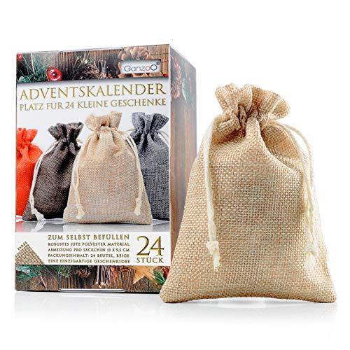 Jutesäckchen | Jute-beutel | Jute-Sack 24er Set für Adventskalender mit Geschenk-Verpackung, 13cm x 9,5cm, Jutebeutel, Stoffbeutel, Natur Säckchen, Geschenksäckchen, Sack, Beutel, Farbe Hellbraun