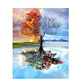 Pintura de árbol por números Temporadas con marco Kits de bricolaje sobre lienzo Pintura acrílica para adultos Colorear por números Decoración Arte W7 50x65cm