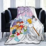 Lucky House1 Fro-St-y The Powerful Sn-Owm-an Ultra Soft Throw Blanket Flannel Fleece All Season Light Weight Sofa Couch Creative Warm Blanket,Black,50'' X40