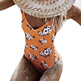 ADESHOP Femme 1 PièCe Monokini Maillots De Bain Bikini Beach Rembourré Beachwear Femme Impression De Fleurs Chic Grande Taille Slim Amincissant 2018 New Siamois Maillot De Bain (M, Jaune)