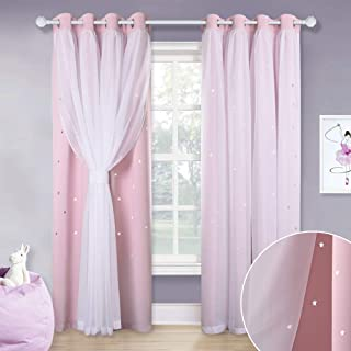 NICETOWN 2 Layers Mix & Match Modern Tulle x Black Out Star Cutouts Curtains for Girl, Free Tie-Backs Included, Cute Window Drapes for Kids Bedroom (Lavender Pink, Pack of 2, Total is 104-inch Wide)
