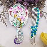 Espejo para mujer Vintage Mini maquillaje de viaje Espejo de vanidad Juego de peine para mujer Mano de pavo real chino Tallado de diamantes de imitación Espejo de mano Fácil de llevar Regalos creativo